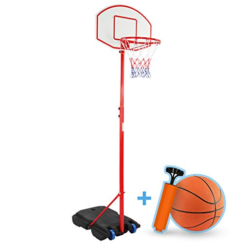 Infantastic® Basketballkorb - Outdoor und Indoor, für Kinder, Höhenverstellbar (148-200), mit Ständer, Luftpumpe, Basketball, Tragbar, Räder - Basketballständer, Korbanlage, Basketballanlage