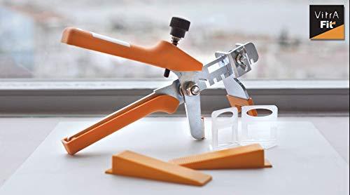 VitrA-Fit Nivelliersystem für Fliesen 351-teilig - 2 mm - Fliesendicke 7-15 mm - Mit Zugzange - Clips & Abstandhalter/Fliesen-Nivellierhilfe mit Zuglasche/Verlegehilfe mit Keilen (Small)