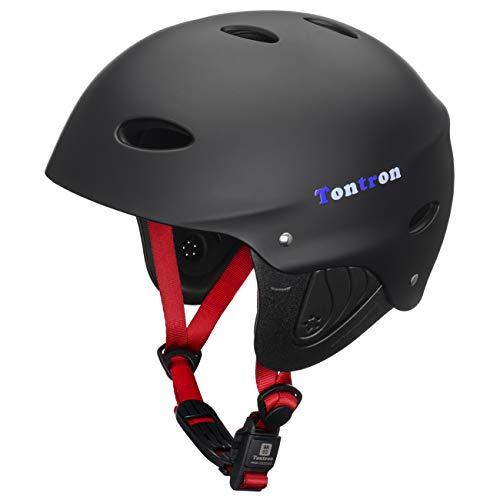 Tontron Adult Kayaking Surfing Helmet with Magnetic Buckle (Matte Black, Medium)