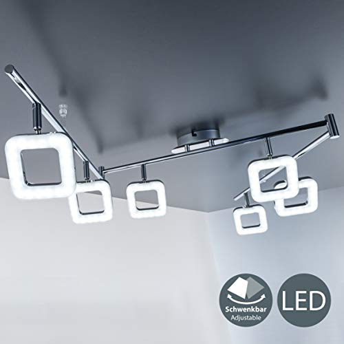 B.K. Licht plafonnier LED design moderne, 6 spots carrés orientables, 6 modules LED de 4W intégrés, IP20