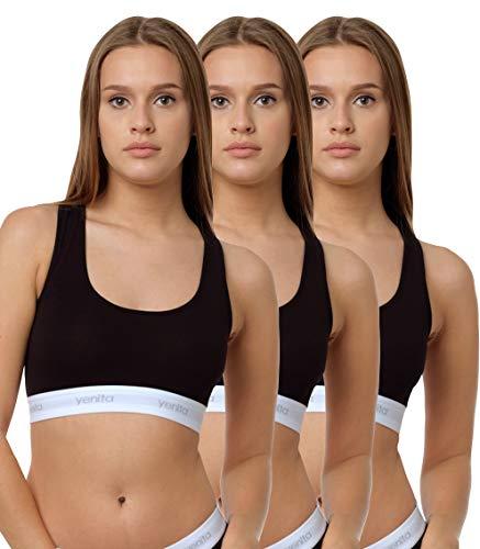 Yenita 3er Set Damen Underwear Modern-Sports-Collection, Bralette, Cotton-Bustier, Schwarz, Gr. M