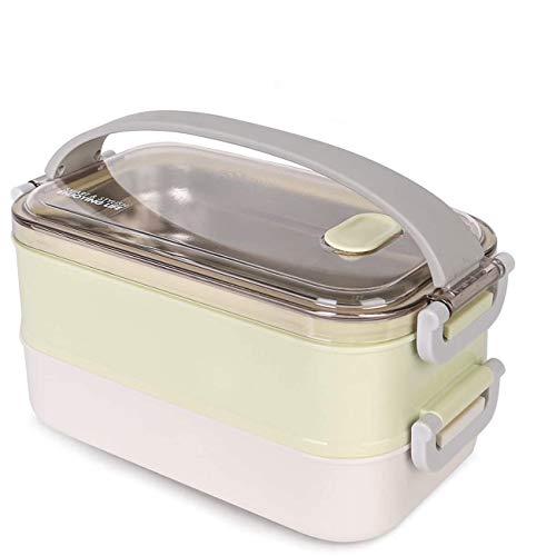 MELISEN Lunchbox - Brotdose mit Fächern Praktische Bento Box mit Edelstahlsbehälter Die doppelschichtige Brotdose für Schule Arbeit Picknick Reisen Unterwegs (Grün)