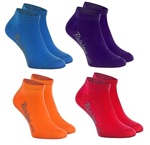 Rainbow Socks - Niños y Niñas - Calcetines Cortos de Algodón - 4 Pares - Jeans Violeta Naranja Rojo - Talla 30-35