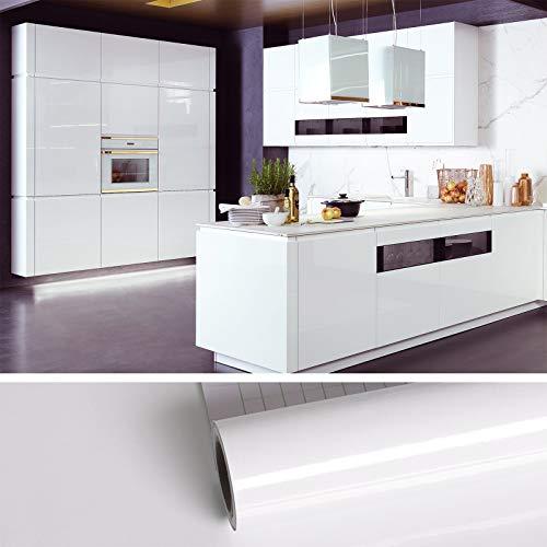 VEELIKE Papel de contacto blanco brillante para armarios, encimeras, papel decorativo con purpurina brillante y adhesivo para cocina,...