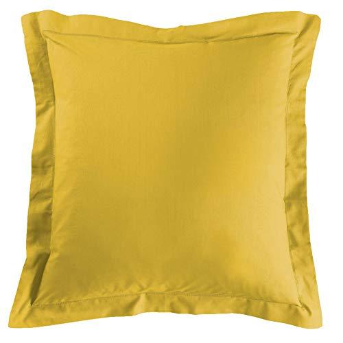 douceur d'intérieur 1641637 LINA Taie d'oreiller Volant Plat Coton Miel 63 x 63 cm