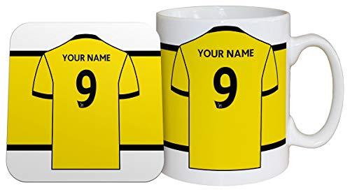 Tasse und Untersetzer, Motiv Watford FC Trikot-Tasse