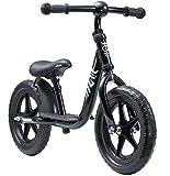 LÖWENRAD Bicicleta sin Pedales para niños y niñas a Partir de 3 - 4 año, Bici 12' Ligero (3KG) con sillín y manubrio Regulable, Negro
