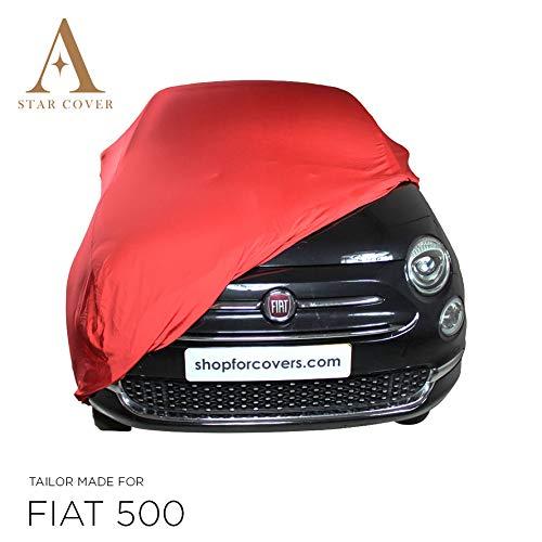AUTOABDECKUNG ROT PASSEND FÜR FIAT 500 Cabrio INNEN SCHUTZHÜLLE ABDECKPLANE SCHUTZDECKE VOLLGARAGE Cover