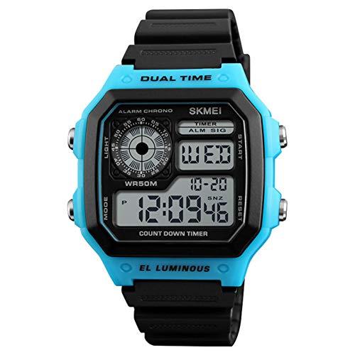 JTTM Reloj Digital, para Hombre, para Actividades Al Aire Libre, Deportivo, Militar, Sumergible, Cronógrafo, Cuenta Atrás, Luces LED, con Alarma, De Goma Negra,Azul