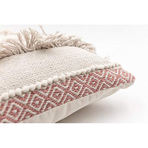 Housse de Coussin Déhoussable 100% Coton 40 x 40 cm Franges Toile Epaisse Rouge