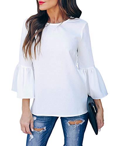 Style Dome Bluse Damen Trompeten Halbarm Oberteile Elegante Shirt Loose Shirt Tops Weiß L