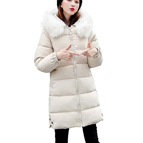Dasongff wollen mantel wintermantel dames lange volle kleur volledige ritssluiting met capuchon outdoor winddichte herfst winter warme trenchcoat outwear meisjes casual slank outdoor wild coat XX-Large wit