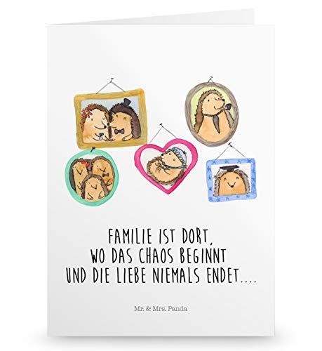 Mr. & Mrs. Panda Klappkarte, Hochzeitskarte, Grußkarte Igel Familie mit Spruch - Farbe Weiß