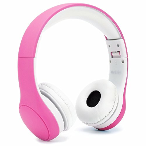 Anble Kids Headphone, Wired Over Ear Headsets with Microphone with 93dB Volume Limited, 3.5mm Audio Sharing Jack Cable, Foldable Children Earphone for iPhone iPad Amazon Fire 7/8 - Pink