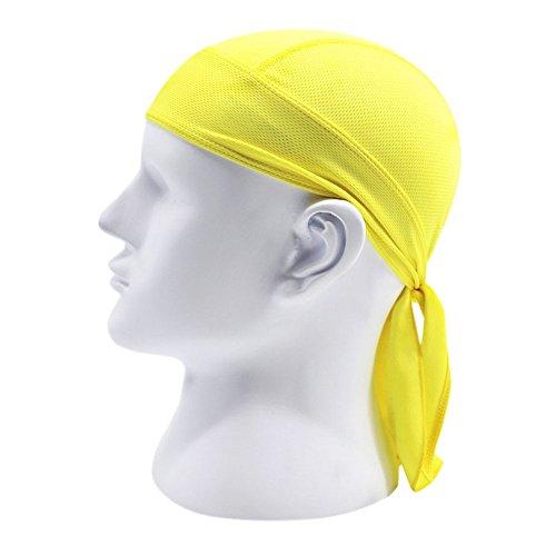 Brave Pioneer Bandana Kopftuch UV Schutz Biker Tuch Bandana Cap Kappe Fahrrad Mütze Piratentuch Beach Kopftuch Baumwolle Unisex Körpererziehung Erwachsene (gelb)