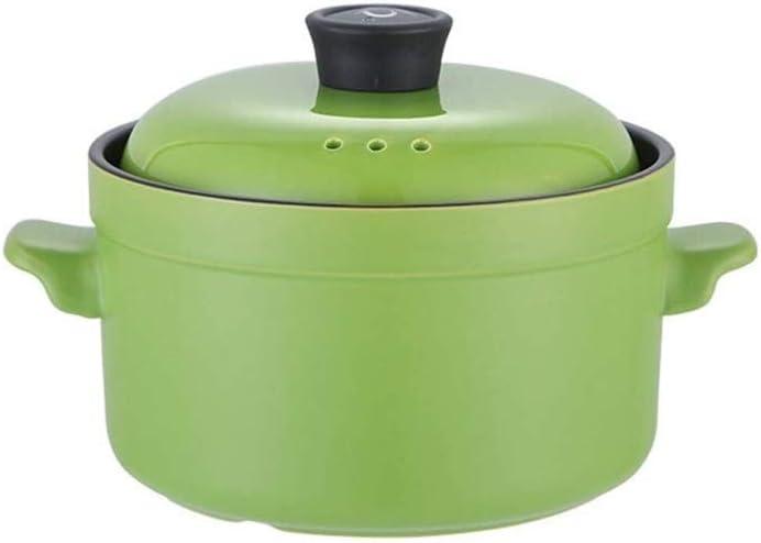 weiwei Pot en céramique à Haute température coréen Ustensiles de Cuisine en céramique avec Couvercle Casserole Pot à ragoût Pot à Soupe Multifonctionnel(Couleur:Rouge) Green
