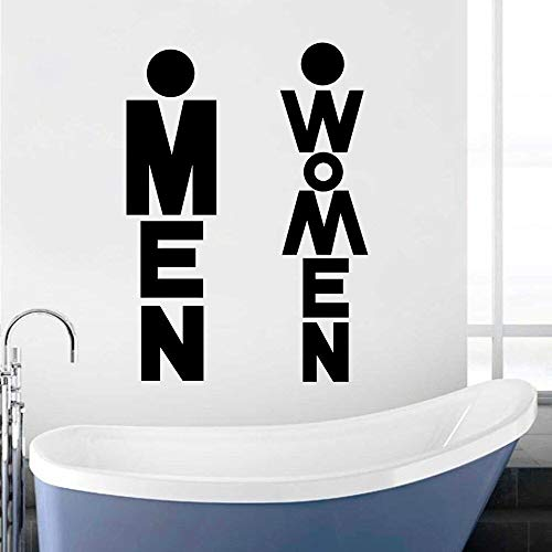 Kjlfow Pegatinas de Vinilo para Pared de baño Pegatinas de decoración de baño Masculinas y Femeninas extraíbles Impermeables 34x57cm