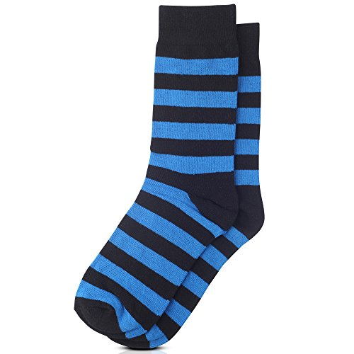Jacob Alexander College Stripe Cotton Dress Socks - Royal Black,One Size