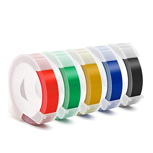 Embossing Label Tape Compatible with Dymo Label Maker,3/8 Inch 3D Plastic Labels Replacement for Dymo Organizer Xpress 12965 DYM 12966 Office Mate II (White on Black/Red/Blue/Yellow/Green)