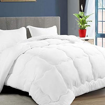KARRISM All Season Down Alternative King Comforter, Winter Warm Comforter Ultra Soft Quilted Duvet Insert with Corner Tabs, Wavy Box Stitched, Luxury Fluffy & Lightweight (White, 90 x 102 inch)