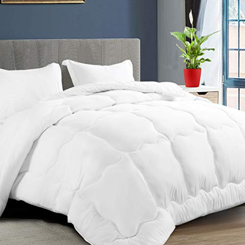KARRISM All Season Down Alternative Queen Comforter, Winter Warm Ultra Soft Quilted Duvet Insert with Corner Tabs, Wavy Box Stitched, Hypoallergenic, Luxury Hotel Collection (White, 88 x 88 inch)