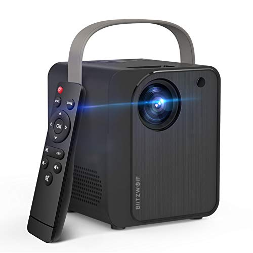 "Mini Projector, BlitzWolf WiFi Movie Projector with Synchronize Smartphone Screen, Portable Projector with 1080P 170"" Display Supported Compatible with Phone, TV Box, HDMI, USB, AV and Remote Control"