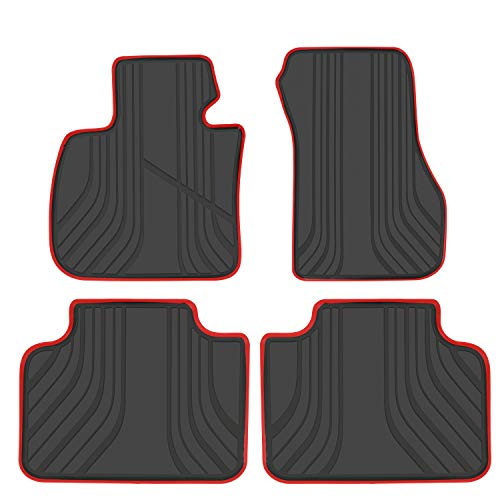 San Auto Car Floor Mats for BMW X1(2016-2020) 2AT(2015-2019) X2(2018-2020) F48 F45 F39 Custom Fit Black and Red Rubber Auto Floor Liners Set All Weather Protection Heavy Duty Odorless