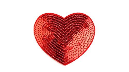 gedeacc-kreativ Bügelbild Applikation Zum Aufbügeln Herz Pailletten Rot 5,5 cm x 6,0 cm