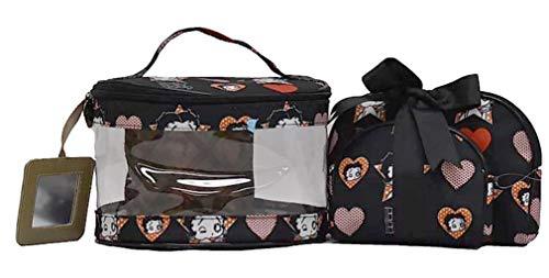 Betty Boop Make-up-Tasche, 3-teiliges Set., Schwarz (schwarz: Wink), Medium