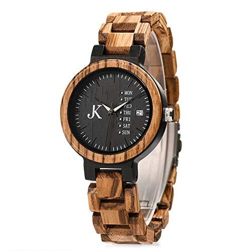 Kim Johanson Damen Holz-Edelstahl Armbanduhr *Dark Week* mit Datum- & Tagesanzeige Handgefertigt Quarz Analog Uhr inkl. Geschenkbox