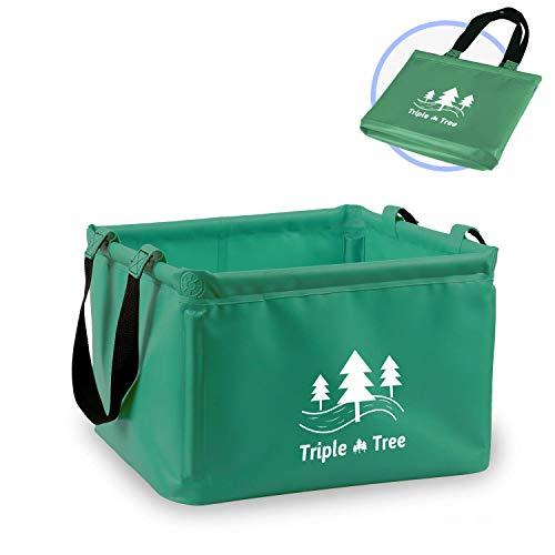 Triple Tree Outdoor Faltschüssel Faltbarer Eimer, TRIPLE TREE 20L Vier Ecken Sind Mit PVC-Rohr befestigt, Multifunktionseimer, Einfach zu Tragen, Geeignet für Camping,  Tourismus, Angeln usw.(Grün)