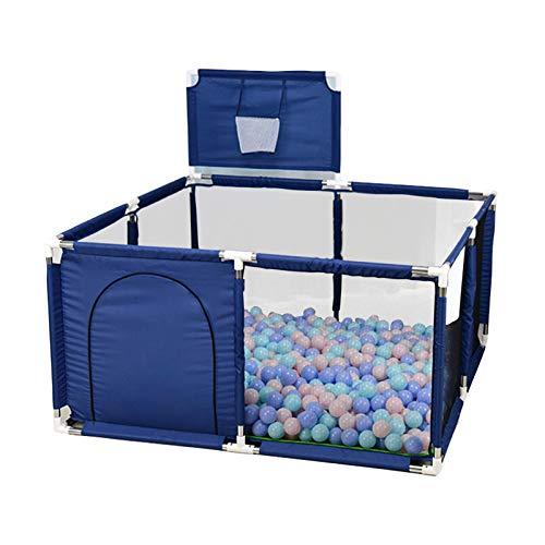 Vigcebit1 Parque infantil para bebé con canasta de baloncesto, valla de tienda portátil para bebés, parque grande con red de canasta de baloncesto transpirable, para interior y exterior