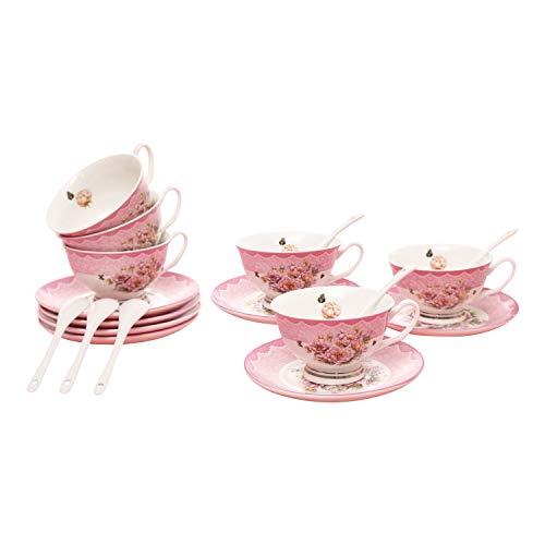 ufengke 7oz Flora Kaffeetassen Set,Porzellan Cappuccino Tassen mit Untertassen und Löffel,Set von 6 Keramik-Teetassen und Untertassen,Rosa