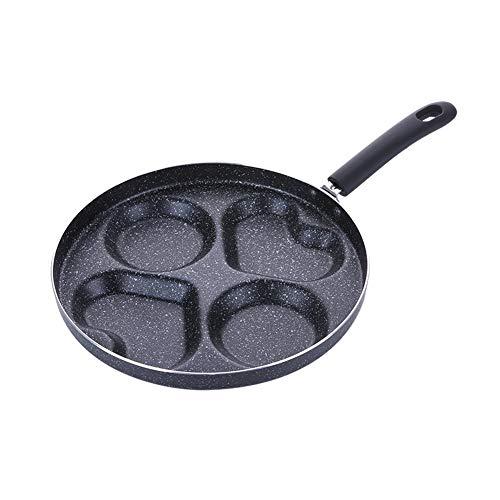 Alician New Vier-Loch-Omelettpfanne für Eier SchinkenpfanneCake Maker Bratpfannen Antihaft Kein Ölrauch Frühstücksgrillpfanne Kochtopf 28cm Zwei runde Löcher und Zwei Herzen