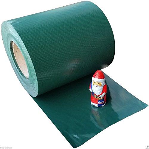 140m Rouleau de protection visuelle vert RAL 6005, épaisseur du matériau 0,7 kg/m², y compris 80 Bouchons en plastique, largeur de rouleau 19cm, pour clôtures de jardin, tapis en une ou deux barres clotures avec hauteur de maille 20 cm, Model 4886