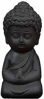 ZLBYB Mini Garden Accessories Buddha Statue Tea Pet Ceramic Figurine Feng Shui Sculpture Meditation Miniatures Zen Garden ...