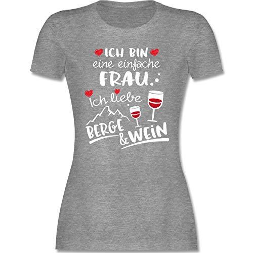 Après Ski - Einfache Frau - Berge & Wein - weiß - M - Grau meliert - Spruch - L191 - Tailliertes Tshirt für Damen und Frauen T-Shirt