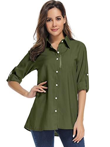 Women's UPF 50+ UV Protection HikingShirt, Long Sleeve Fishing Shirt, Safari Breathable and Fast Dry,5019 Army Green,Large