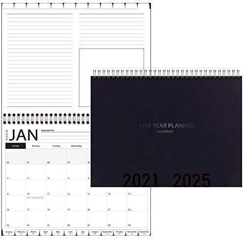 Calendario planificador de 5 años, 2020-2022 planificador mensual con pestañas y tapa en espiral, negro, 21,6 cm de ancho x 27,9 cm de largo
