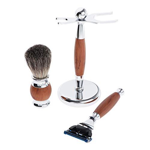 Hellery Kit de Rasage 3 en 1 Blaireau,Rasoir et Support pour Homme Barbier Coiffeur/Salon de Coiffure - marron