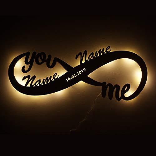 Led Unendlichkeitszeichen mit Namen Liebe Liebesbeweise zur Hochzeit Verlobung Jahrestag Hochzeitsgeschenke Wohnzimmer Schlafzimmer Freundin Verliebte Partner romantische Geschenke Weihnachten