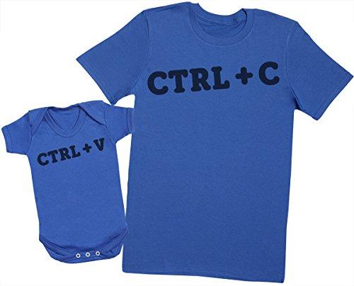 Zarlivia Clothing CTRL C and CTRL V - Passende Vater Baby Geschenkset - Herren T-Shirt & Baby Strampler/Baby Body - S & 18-24 Monate