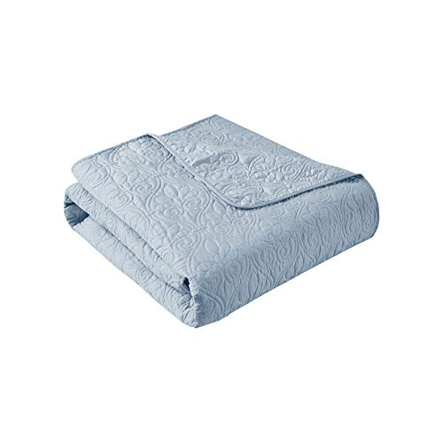 Madison Park Quebec Luxury Oversized Quilted Throw Blue 60x70 Premium Soft Cozy Microfiber With Cotton Fill For Bed, Couch or Sofa