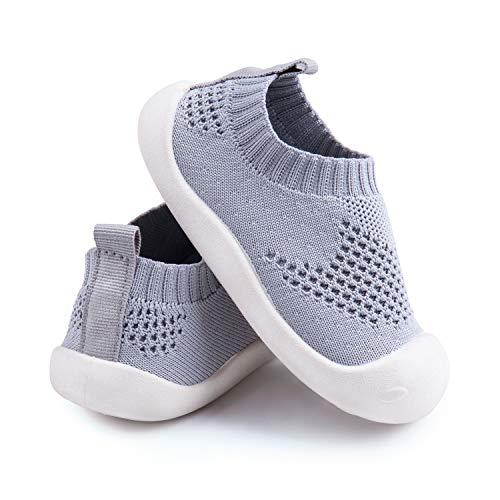 Addmluck Strickschuhe für Kinder, Babyschuhe mit weicher Sohle, weich, atmungsaktiv, leicht, geeignet für 1-4 Jahre, Grau, 20 EU schmal