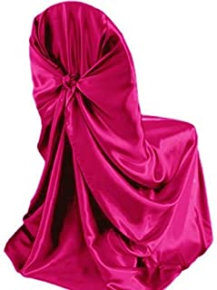 mds Pack of 10 Satin Universal Chair Cover/Pillowcase/tie Back self Chair Cover for Wedding or Events Banquet/Folding Chair Cover - Magenta