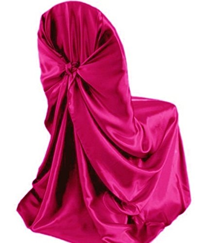 MDS Pack of 1 satin Universal Chair Cover / Pillowcase / tie back self chair cover for Wedding or Events Banquet / Folding Chair cover - magenta