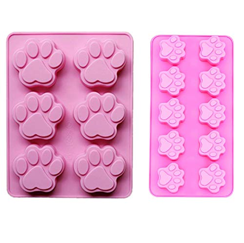 2 PACK Combo Mini & large Silicone DOG Pet Animal Paw Print Ice Cube Chocolate Soap Candle Tray Mold Party maker