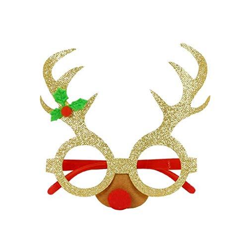WFRAU 1/9 er Weihnachten Party Weihnachtsbaum Weihnachtsmann Hirschhorn Karikatur Brillengestell Erwachsene Kinder Xmas Brillen Spielzeug Dekoration