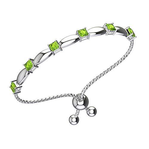 Belinda Jewelz Womens 925 Sterling Silver Sparkling Square Bolo Gemstone Adjustable Tennis Style Pull String Birthstone Jewelry Fine Bracelet, 2.1 Carat Natural Green Peridot, 11 Inch Box Chain