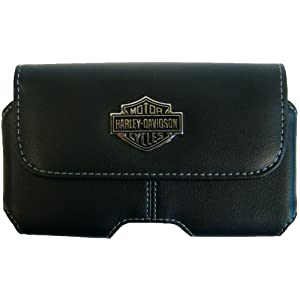 Fuse Harley Davidson Horizontal Leather Holster for iPhone and Most SmartPhones - Retail Packaging - Black